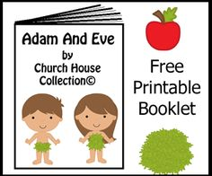 Adam and Eve Free Mini Booklet Printable -Sunday School Crafts For Kids - Children's Church ideas - Sunday Plans Free Sunday School Lessons, Toddler Sunday School, Sunday School Crafts For Kids, Crafts For 3 Year Olds, Sunday School Activities, Toddler Age, Preschool Bible, Bible Activities, Preschool Lessons
