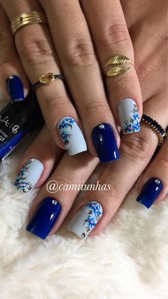 Prom Nails, Wedding Nails, Blue Nails, My Nails, Finger Nail Art, Floral Nail Art, Bath And Beyond Coupon, Summer Nails, Coupon Codes
