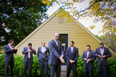 The groom and his groomsmen getting ready for the ceremony at Crossing Vineyards Winery in Newtown, Pa | Juliana Laury Photography | Philadelphia + Bucks County Wedding Photography