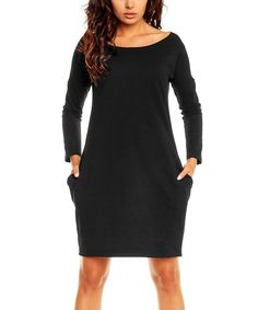 Look at this Nommo Black Side-Pocket Shift Dress on #zulily today!