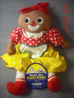 1965 Knickerbocker Beloved Belindy doll with paper tag; replaced pantaloons.