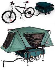 Available at Kamp-Rite, the Midget BUSHTREKKA is a lightweight bike trailer built for uneven terrain. It features three main storage compartments with over 41 gallons of storage space and fully adjustable leveling jacks. The trailer pairs with the 'TentCot' to create the camper setup pictured.