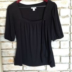 Cute Peasant Top Adorable rich black peasant top. Very flattering. Polyester spandex blend so it will never fade LOFT Tops Blouses