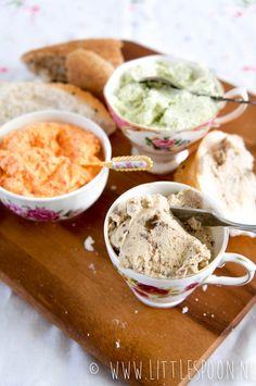 3 x fetadips - Little Spoon I Love Food, Good Food, Yummy Food, Tapenade, Birthday Snacks, Feta Dip, Cooking Recipes, Healthy Recipes, Healthy Food
