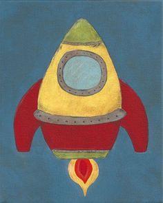 NEW - Rocket - PRINT - 8x10 - space ship outer space art for children nursery decor - kids - baby - children. $10.80, via Etsy.