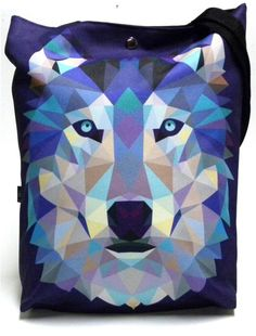 Bag with snap and with wolf by GaulDesigns on Etsy