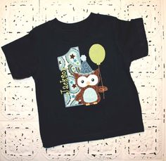 Sweet Owl Birthday shirt with Balloon ALL by bebeboutiques on Etsy, $28.00