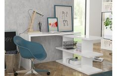 Altra Furniture Amelia Desk with Mobile Storage Cube and File in White Finish - 9370096 Home Office Computer Desk, Home Office Furniture, Computer Desks, White Furniture, Furniture Decor, Bureau Design, Mobile Storage, Cube Storage, Mobile Desk