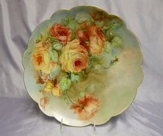 """""""LIMOGES"""" Charger ~ Hand Painted w/ Roses ~ Artist Signed """"N.A. Foster"""" ~13.5"""""""