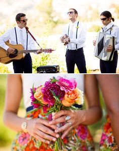 these guys wore suspenders (as the men will in this wedding) and here is an example of where to pin the bouts.... and I love the pom pom flowers for the bouts!