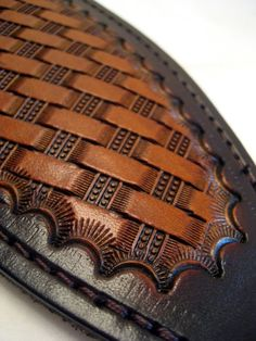 Leather Rifle Sling  British Tan Tooled Basket Weave by LeatherPro