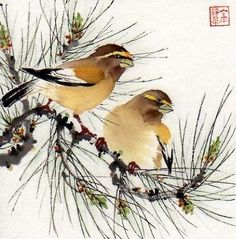A Pine Song, painting by artist Jinghua Gao Dalia