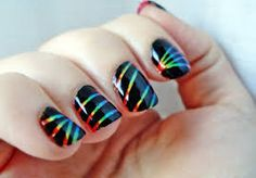 i would do it with reflective tape instead of removing the strips. Nail Art Designs Videos, Nail Polish Designs, Nail Designs, My Favorite Color, My Favorite Things, 31 Day Challenge, Rainbow Nails, Nail Decorations, Fabulous Nails