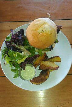 Burger, salad & wedge potatoes, Mile One Eating House in Pemberton Gateway Village Suites Hotel