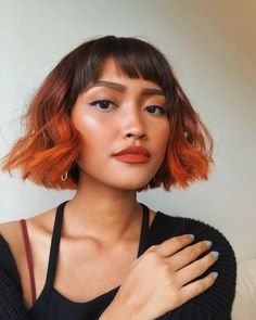 Dark Orange Hair, Orange Ombre Hair, Dark Ombre Hair, Short Dark Hair, Pixie Hair Color, Short Hair Colour, Short Hair Lengths, Short Hair Styles, Hair Color Techniques