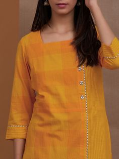 Buy Mustard Yellow Cotton Checkered Kurta with Grey Striped Pants - Set of 2 onl. Simple Kurta Designs, Fancy Blouse Designs, Kurta Designs Women, Salwar Designs, Kurti Designs Party Wear, Neck Designs For Suits, Dress Neck Designs, Kurta Patterns, Kurti Embroidery Design