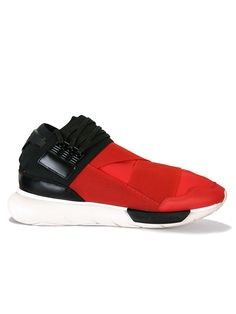 Y3 Red/Black Qasa High Top Sneakers - Red/black qasa high top sneakers from the Y3 Yohji Yamamoto collection are one of Y3's best loved & popular designs. The Y3 qasa returns for AW15 with a new colour way and features full neoprene uppers, signature elasticated straps over front of foot and a chunky tubular rubber outsole. It also features lace up fastening with black eyelets on the side, contrast heel patch with the Y3 branding and leather detailing.