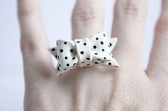 Bow Ring Black and White PolkaDot Adjustable by Mirilovelove #etsy
