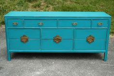 """Benjamin Moore """"Surf Blue"""" - love this bold color for accent furniture"""