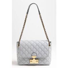 MARC JACOBS Baroque Single Large Double Chain Quilted Leather Shoulder Bag, Light Grey