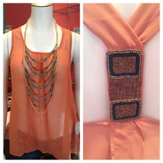 $42.50 sheer tank with beaded detail on back
