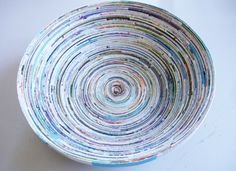 Instead of tossing out those old magazines, why not recycle them into something useful? Paper Flowers Coiled Magazine Bowl ...