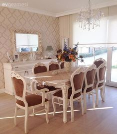 Country, Wallpaper, Brown, Dining Room What is Decoration? Decoration may be the art of decorating the interior and exterior of … Home Room Design, Home Design Decor, Home Decor Items, Interior Design, Dining Table In Living Room, Luxury Dining Room, Classic Home Decor, French Home Decor, Living Furniture