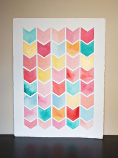 22 x 30 Original chevron watercolor painting  -  pink, yellow, mint, turquoise, coral, gold