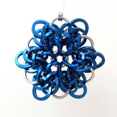 Chainmail snowflake Christmas tree ornament by TattooedAndChained, $25.00