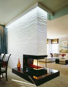Image result for corner shelf wrap on fireplace wall modern design