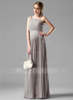 Bridesmaid Dresses - $121.99 - Empire One-Shoulder Floor-Length Chiffon Bridesmaid Dress With Beading Pleated (007000957) http://jjshouse.com/Empire-One-Shoulder-Floor-Length-Chiffon-Bridesmaid-Dress-With-Beading-Pleated-007000957-g957