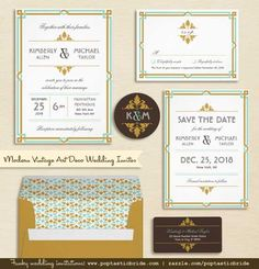 Art Deco Wedding Invitation Suite  - Free Printable Mr. and Mrs. Signs!