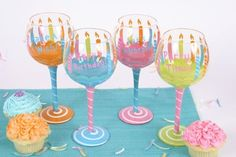 Happy Birthday Hand Painted Candle Wine Glass (Set of 4) by DEI. $47.99. Fun Birthday Wine Glass. Happy Birthday Hand Painted CANDLE Design 18OZ WINE Glasses QTY 4ASST Height 8.5""