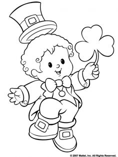 A Funny Little Boy Giving Shamrock For St Patricks Day Coloring Page