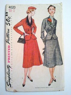 Stylish mid-century suits, Simplicity 4020.  #vintage #sewing #patterns