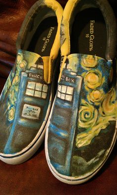 CUSTOM Van Gogh Doctor Who Shoes Men's sizes 8-13 OOAK. $55.00, via Etsy.