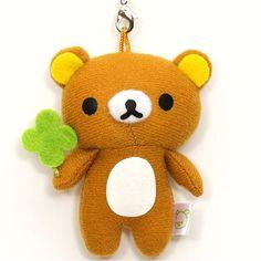 Rilakkuma plush charm brown bear with cloverleaf 1