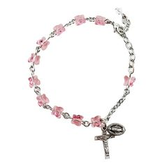 Swarvoski Rose Butterfly Rosary Bracelet - a gift idea for First Holy Communion.