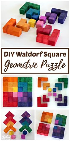 A DIY Waldorf Square Geometric Puzzle makes a great handmade gift idea for kids. Both children and adults can exercise their geometric and spatial thinking while tinkering with this puzzle's pieces. Many variations of shapes, colors, and pat Light Fixture Makeover, Diy And Crafts, Crafts For Kids, Diy Blanket Ladder, Martha Stewart Crafts, Diy Headboards, Idee Diy, Wooden Puzzles, Wooden Blocks