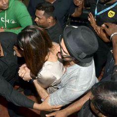 Ranveer Singh protecting Deepika Padukone from crowd
