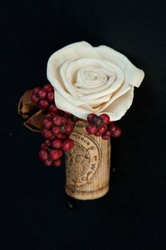 Cork boutonniere with White Sola wood flower topper, berry accent