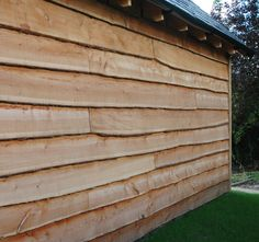 Waney-edge cladding - but needs to be painted black Wood Cladding Exterior, Larch Cladding, House Cladding, Wood Siding, Wall Cladding, Cladding Ideas, Sawn Timber, External Cladding, Barn Renovation