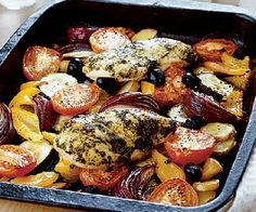 Low FODMAP Recipe - Mediterranean chicken with roasted vegetables http://www.ibssano.com/low_fodmap_recipes_chicekn_roasted_veg.html