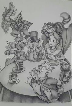 alice in wonderland quotes Alice in Wonderland scene grayscale drawing Alice In Wonderland Scenes, Alice And Wonderland Tattoos, Adventures In Wonderland, Wonderland Party, Disney Drawings, Cartoon Drawings, Drawing Sketches, Art Drawings, Arte Disney