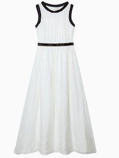 White Beaded Elastic Waist Chiffon Maxi Dress