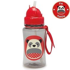 """[ Skip Hop ] Zoo Straw Bottle Pia Panda Price : IDR 130k  A major milestone for toddler is when they are ready to move on from sippy cups.  The Zoo Straw Bottle helps ease this transition by giving little ones a """" big kid cup """" with the protection of a flip-top lid.  Dishwasher-safe also comes with an extra straw. Straw flips down to seal closed & stay clean   handy grab-strap attaches to anything  extra straw included.  Holds 12 oz  BPA-free Phthalate-free & PVC-free. Size ( inches ) : 2.75…"""