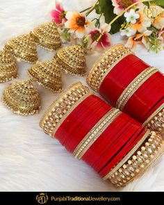 Punjabi Bridal Chura - New Design Bridal Chura Best Price Online Bridal Bangles, Bridal Jewelry Sets, Bridal Accessories, Bridal Jewellery, Jewellery Shops, Gold Jewellery, Bridal Sets, Jewelery, Jewelry Accessories