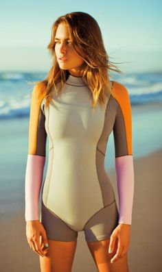 576420766 Color Bloack High Neck Surf Swimsuit