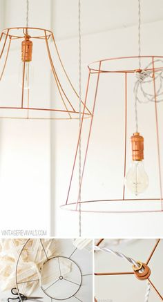 upcycled Copper Wire Pendant Lights (from ugly lampshades!) -- don't use light kits & wrap the string lights around the shade wires Lamp Shades, Light Shades, Diy Luz, Wire Pendant Light, Copper Spray Paint, Do It Yourself Inspiration, Diy Light Fixtures, By Any Means Necessary, Light Project
