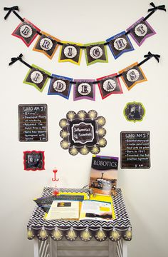 """Here is a 'Bright Idea' for your classroom walls.  Here we used the 6"""" Chalk It Up! Pennant Cut-Outs, created accordion 'pinwheels' from cardstock (or borders), and finished off with the Chalkboard 2"""" Letter Stickers.  There are also touches of the Lightbulbs in Chalk Border, Chevron in Chalk Border and other great pieces from the collection."""